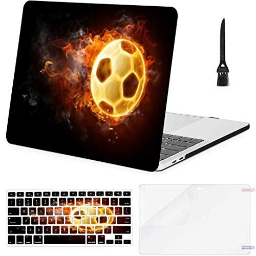 MacBook Pro Case Bright Flamy Symbol On Black Background MacBook Air 11' /A1370/A1465 Plastic Case Keyboard Cover & Screen Protector & Keyboard Cleaning Brush