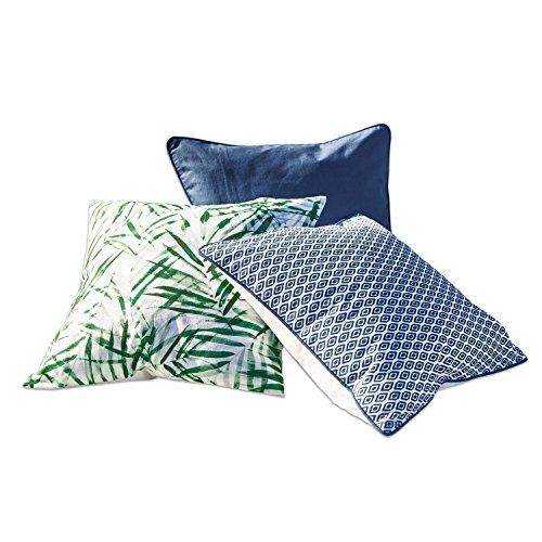 Loberon Palma kussen 3-delige set, katoen/polyester, H/B ca. 50/50 cm, blauw/groen