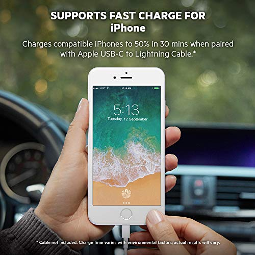 Belkin Boost Charge 27-W-USB-C-Kfz-Schnellladegerät (unterstützt Apple Fast Charge, geeignet für iPhone und USB-PD Power Delivery)