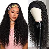 Headband Wig Water Wave Grade 9A Glueless Human Hair Wig Wet And Wavy Virgin Malaysian Human Hair Easy To Wear Wigs Full Hair Wig Natural Black Next Day Delivery 14 Inch