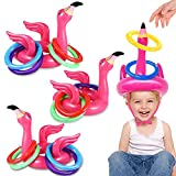 Camlinbo 15 Pcs Inflatable Flamingo Pool Toys Ring Toss Pool Game, Flamingos Luau Party Decor Hawaiian Beach Toys Carnival Outdoor Luau Party Games Party Supplies for Kids Adults Family