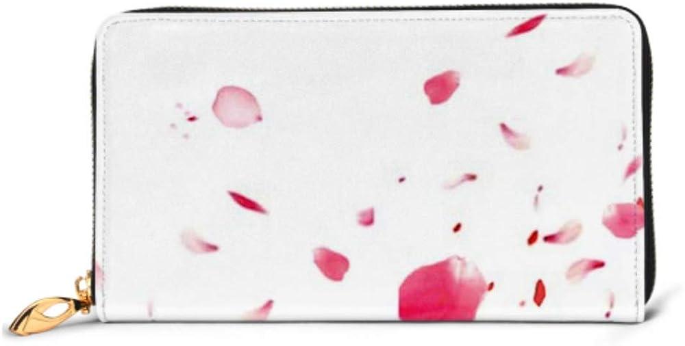 Fashion Handbag Zipper Wallet Petals Stock Image Blur Effect Phone Clutch Purse Evening Clutch Blocking Leather Wallet Multi Card Organizer