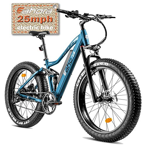 eAhora AM200-26'X4.0' Fat Tires 750W Electric Mountain Bike - Dual Hydraulic Brakes/Full Air Suspension/48V 10.4Ah Battery/E-PAS Tech/9 Speed Shimano Transmission System/Colored Display Screen