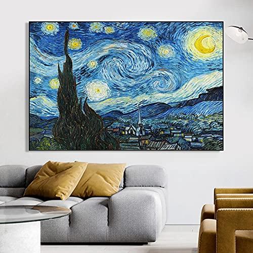 Van Gogh Starry Night Pinturas en lienzo famosas Carteles de pared e impresiones Imágenes artísticas de pared impresionistas para la sala de estar 80x120cm (31.5x47.2in) Sin marco