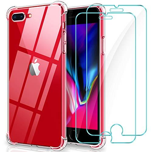 YNMEacc Coque pour iPhone 7 Plus, Coque pour iPhone 8 Plus, 2 Pack Verre trempé écran, Étui Housse de Protection Transparent Silicone TPU Antichoc [avec AIR Cushion Protection]