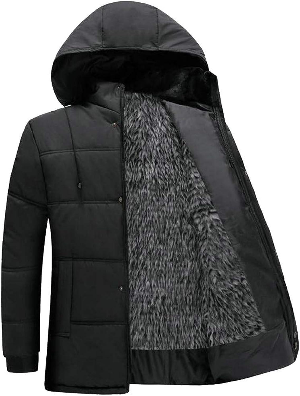 392132090e6 Etecredpow Men's Hoodid Thicken Slim Fleece Quilted Faux Faux Faux Fur  Lined Midi Jacket Parka Coat 3661ff