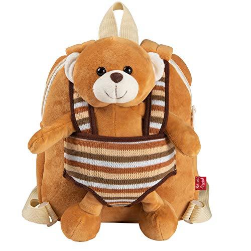 PERLETTI Kuscheltier Teddybär Rucksack Kleinkinder mit Plüsch Abnehmbar Weich - Kinderrucksack Plüschtier Bär für Kindergarten Kinder 2/5 Jahren - Beige Plüschspielzeug Kindertasche - 22x25x3 cm (Bär)