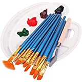 Set de pinceles, incluye 12 pinceles, 2 paletas, 1 cuchillo de paleta, pinceles para acrílico, acuarela, pintura al óleo, niños, principiantes, artistas, amantes de la pintura (azul)