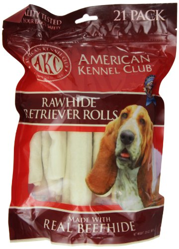 Pet Brands American Kennel Club 21 Count Beefhide Retriever Roll Dog Treats, 5-Inch