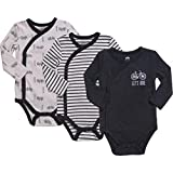 Baby Boy 3-Pack Long-Sleeve Kimono Bodysuit Set, Infant Boy Bundle Includes Charcoal Heather, Cream and Charcoal Stripes Outfit. 0-3 Months