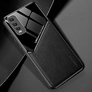電話ケース 金属製の鉄板とin vivo y70sの +有機ガラスの携帯電話ケース (Color : Black)