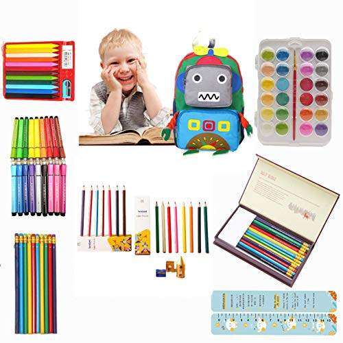 NEWLAND Inspiration Art Set for Kids,Travel Backpack & 116Pieces Drawing Kit with Crayons,Colored Pencils,Stamps,Markers,Paint Brush,Watercolor Cakes,Sharpner,Eraser,Gift for Kids Age 3+ (Pink)