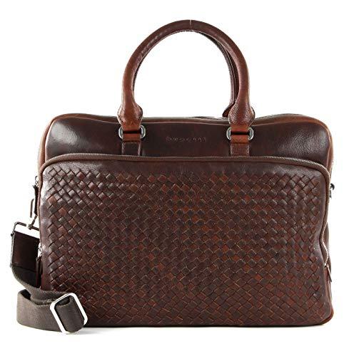 bugatti Woven Briefcase British Tan
