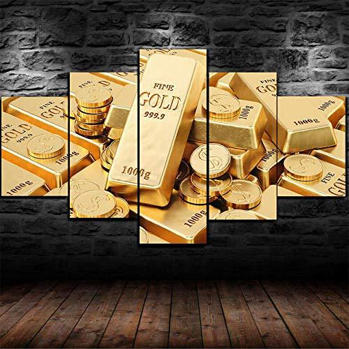 Impresión En Lienzo 5 Piezas Cuadro Sobre Lienzo,5 Piezas Cuadro En Lienzo,5 Piezas Lienzo Decorativo,5 Piezas Lienzo Pintura Mural,Regalo,Decoración Hogareña Moneda Lingotes De Oro Dinero Dólares