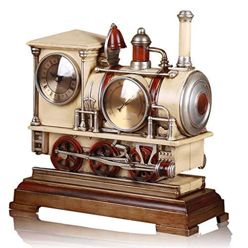 Harz Statuen Dampflok Motor Statue Zug Modell Wecker Batteriebetrieben Silent Non-Ticking Desk Shelf Clock Creative (Color : Brown, Size : 28×23cm)