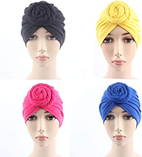 BABAHU 1Pack / 2Pack Women Turban African Pattern Cotton Knotted peas pre-Tied hat Makeup Cap Hair Loss Cap