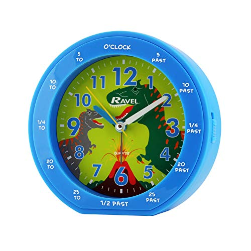 RAVEL KIDS EASY READ BLUE ROUND DINOSAUR TIME TEACHER ALARM CLOCK RC007.06A