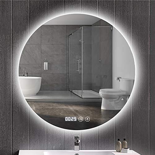 Espejo Led Redondo, Espejo Baño con Luces Led Espejo de Tocador Regulable Inteligente Espejo de Maquillaje Moderno Montado En La Pared, 3 LED de Color Ajustable