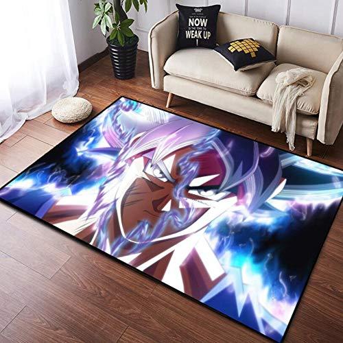 ZWPY Alfombra de Anime, Alfombra Dragon Ball Super Saiyan Azul Diseño, Mat Antideslizante Rectangular, Sala De Estar Dormitorio Habitación Infantil Decoración De Cabecera,120x160cm