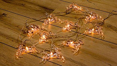 Wunderfabrik LED-Lichterkette warmweiß, batteriebetrieben - Dekoration für Terrasse, Garten, Schlafzimmer, Weihnachtsfest, Hochzeit (Rentier)