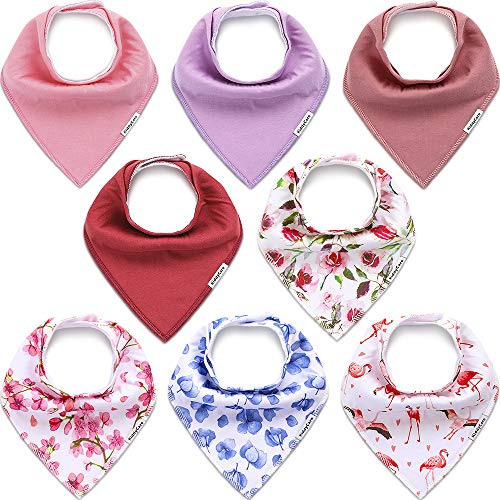 KiddyCare Baby Bibs for Girls 8 Pack - Waterproof 100% Organic Cotton for Drooling and Teething - Soft & Absorbent Bandana Bibs for Baby Girl - Baby Shower Gift Set