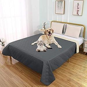 SUNNYTEX Waterproof Dog Bed Cover Pet Blanket for Couch Sofa Anti-Slip Furniture Protrctor(6882″,Dark Grey)