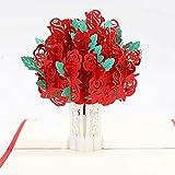 [page_title]-Pop-Up Karte Rosen, Ahsado 3D Grußkarte, Liebe Form Hochzeitskarte mit Umschlag, Romantische Glückwunschkarte für Meisten Anlässe
