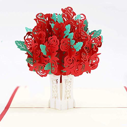 Ahsado Biglietto Di Auguri Pop-Up, Motivo: Rose, 3D, Con Busta, Romantico Biglietto Di Auguri Per La Maggior Parte Delle Occasioni