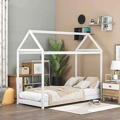 Merax Twin Size House Frame Floor Bed for Kids and Toddler. Wood Twin Bed Frame for Boys and Girls, House Shaped, Twin, White
