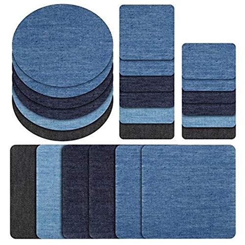 Amacoam 24 Stück Aufbügelflicken Jeans Flicken zum Aufbügeln Jeans Patches zum Aufbügeln Patch Sticker Bügelflicken Denim Patches Jeans Reparatursatz für Jeans DIY Taschen
