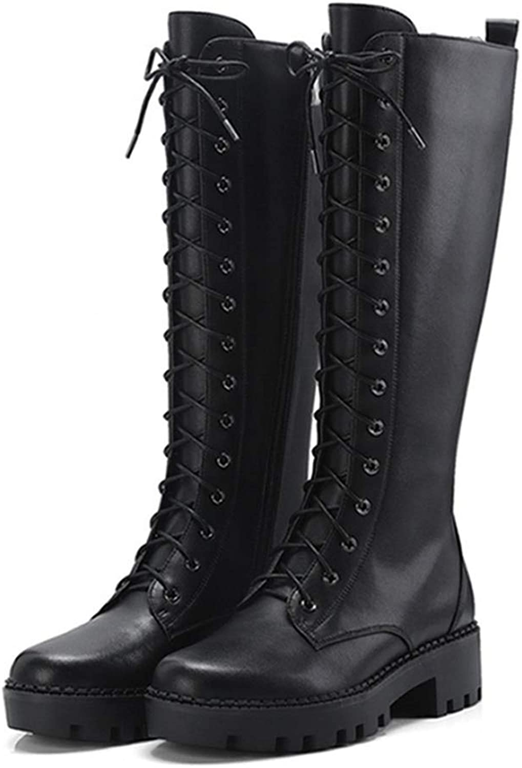 Fay Waters Women's Autumn Winter Genuine Leather Lining Chunky Heel Lace up Knee High Snow Boots