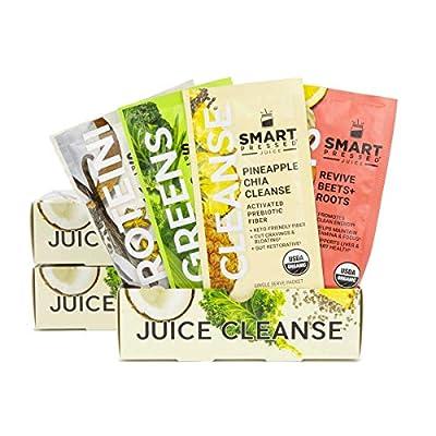 Smart Pressed Juice 3-Day Organic Juice Cleanse | Healthy Weight Loss & Detox Program | Vegan Vanilla Protein, Cold-Pressed Green Juice, Beets Juice & Pineapple Chia Cleanse | High Fiber & Vegan from Smart Pressed