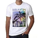 Dan Hotel, Beach Palm, Camiseta para Las Hombres, Manga Corta, Cuello Redondo, Blanco