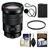 Sony Alpha E-Mount 18-105mm f/4.0 OSS PZ Zoom Lens with Battery + UV Filter + Kit for A7, A7R, A7S Mark II, A5100, A6000, A6300 Cameras