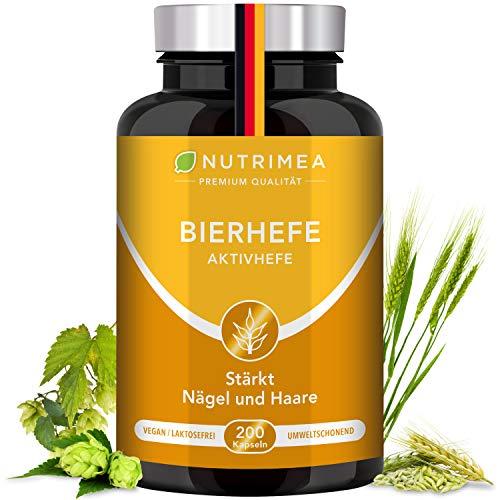 Bierhefetabletten Angereichert mit Zink + Selen | 100% Natürliche Aktivhefe Premium Qualität | Bierhefe Pulver Kapseln Biotin für schönes Haar, reine Haut & kräftige Nägel Vitamine Tabletten VEGAN