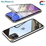 iPhone 11ケース 両面強化ガラス アイフォン 11 対応 ガラスケース アルミ バンパー 表裏 前後 透明両面ガラス 360°全面保護 ケース磁気吸着 マグネット式 アルミバンパー 取り付けやすい iPhone11 アルミ バンパー 【iPhone 11-シルバー】
