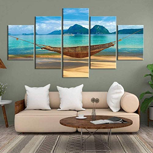 YYTOOF HD 5 Piece Canvas Wall Art Sunset Seaside Hammock Poster Canvas Painting Mural Picture 5 Pieces Home Decoration(No Frame)