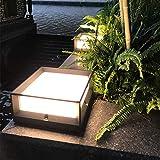 Pointhx Cubo Cuadrado Lámpara de Poste de Pilar Moderna IP55 Luz de Columna Exterior Impermeable Aluminio Negro Patio de Metal Jardín Paisaje Deck Valla Luz de Mesa LED con Pantalla acrílica