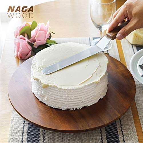 Wood Cake Stand Acacia – 13 inch Cake Stand Turntable– Revolving Cake Decorating Stand - 100% Natural ideal for Use at Parties, Weddings, Restaurants – Very Stable