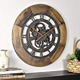 FirsTime & Co. Wood Gear Wall Clock, 19', Aged Brown