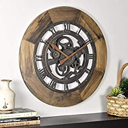 FirsTime & Co. Wood Gear Wall Clock, 19, Aged Brown