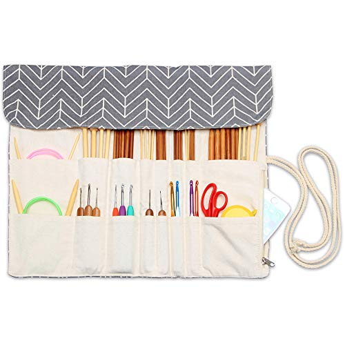 Teamoy Knitting Needles Holder Case(up to 14 Inches), Rolling Organizer for Straight and Circular Knitting Needles, Crochet Hooks and Accessories, Gray - NO Accessories Included