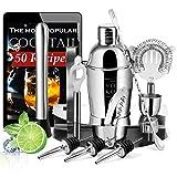 Cocktail Set Edelstahl Shaker Barkeeper Set mit 14 Teilen und Rezeptbuch eBook | 550ml Edelstahl Coktailshaker | Barset mit Halter für sämtliches Zubehör inkl. Schürze | Das ideale Geschenk