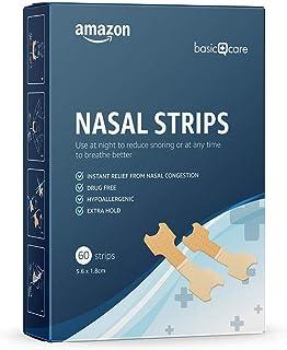 Amazon Basic Care – Nasenstrips gegen Schnarchen und verstopfte Nasen, Gr. M, 60 Pflaster