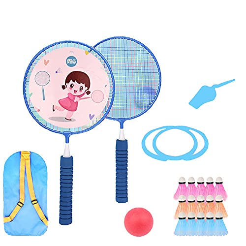 FENGXU Racket 1 Pair Lightweight and Sturdy Badminton Rackets for Children Adult Set Kids Tennis Racquet with Ball Beginners Outdoor Sport Game with Portable Bag