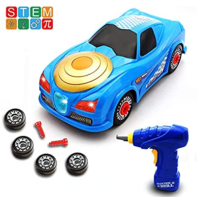 ORIVAST Take Apart Toys for Boys - STEM Build Your Own Race Car Toys for 3,4,5,6,7 Year Old Boys with Electric Drill, Lights and Sounds - Gifts for Kids
