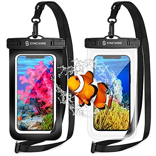 Syncwire Funda Impermeable Universal, 2 Unidades Bolsa para móvil estanca a Prueba de Agua IPX8 para iPhone 12 Pro Max/12/11/XS/MAX/XR/X 8 7, Xiaomi Redmi Note 9 8 7, Galaxy S21 S20 S10, Huawei