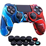 YoRHa Studded Dots Silicone Rubber Gel Customizing Cover for Sony PS4/slim/Pro Dualshock 4 Controller x 1(Camou Red&Blue) with Pro Thumb Grips x 10