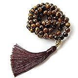 Perla Style Collar Tibetano 108 Cuentas de Piedras Naturales Ojo de Tigre Amuleto Buda Collar Pulsera Largo Budista Rosario Mala Meditación (Ojo de Tigre)