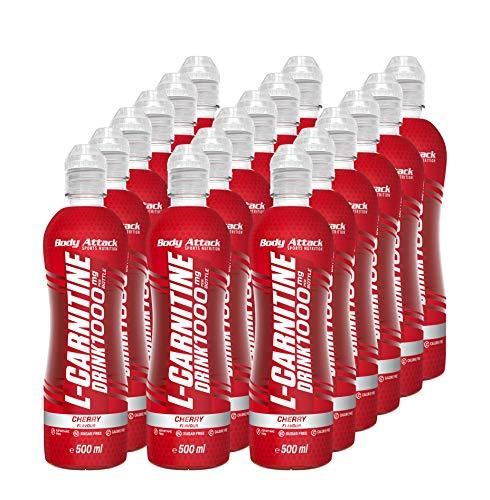 Body Attack L-Carnitine Drink - 1000mg L-Carnitin pro Flasche - zuckerfrei (18x 500 ml) (Cherry)